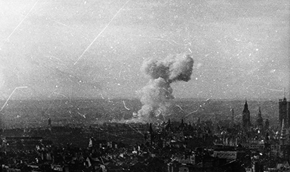 V-1 flying bomb explosion over London