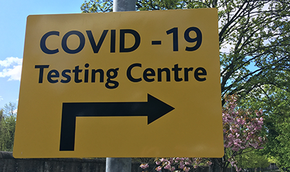 COVID-19 testing centre direction sign