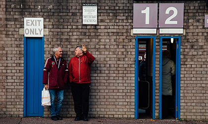 Fans outside Burnley Football Club
